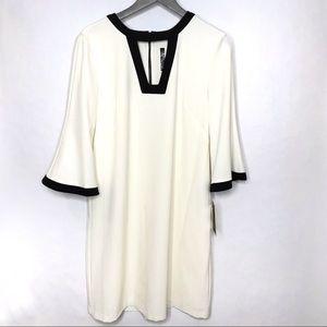 Julian Taylor Off White/Black Dress w/ Bell Sleeve